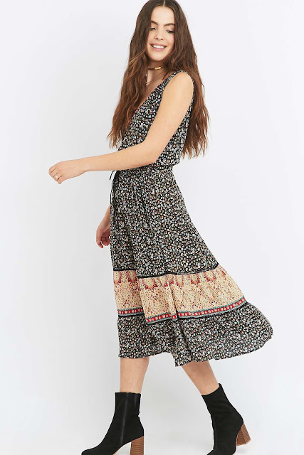 staring at stars print mid dress, staring at stars boho dress, boho midi dress,