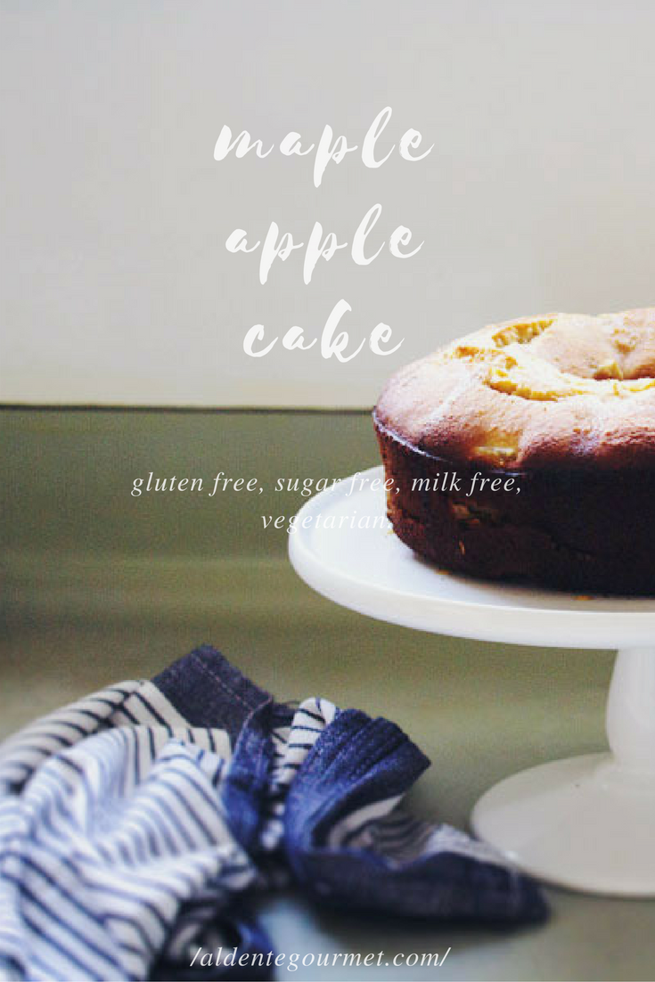gluten free, sugar free, milk free, baking, maple apple cake, Copyright by aldentegourmet blog