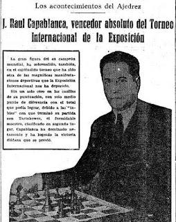 Noticia aparecida en el Mundo Deportivo sobre el Torneo Internacional de Ajedrez Barcelona 1929