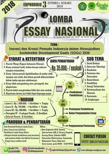 EUPHORBIO 3 Lomba Essay Nasional SMA Sederajat/Mahasiswa/Umum 2018