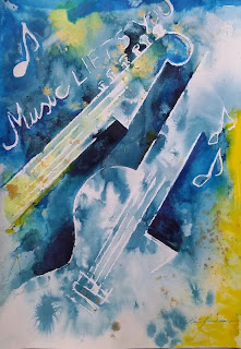 Music lifts you electric guitar water media color painting keiu kuresaar