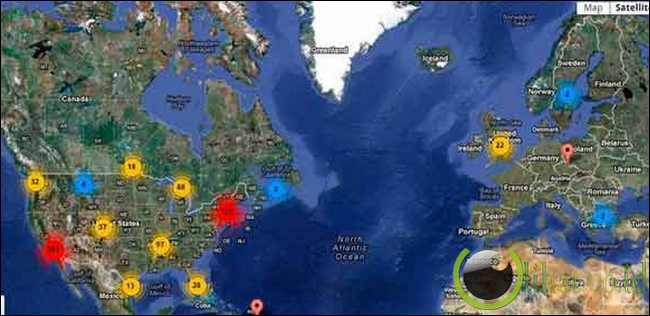 UFO activity map, UFO tracker