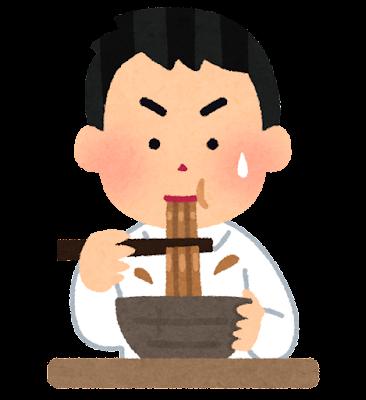 カレーうどんを食べる人のイラスト(男性)