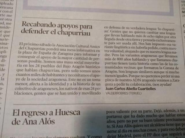 Heraldo, recabando apoyos para defender el chapurriau, Juan Carlos Abella Cuartielles