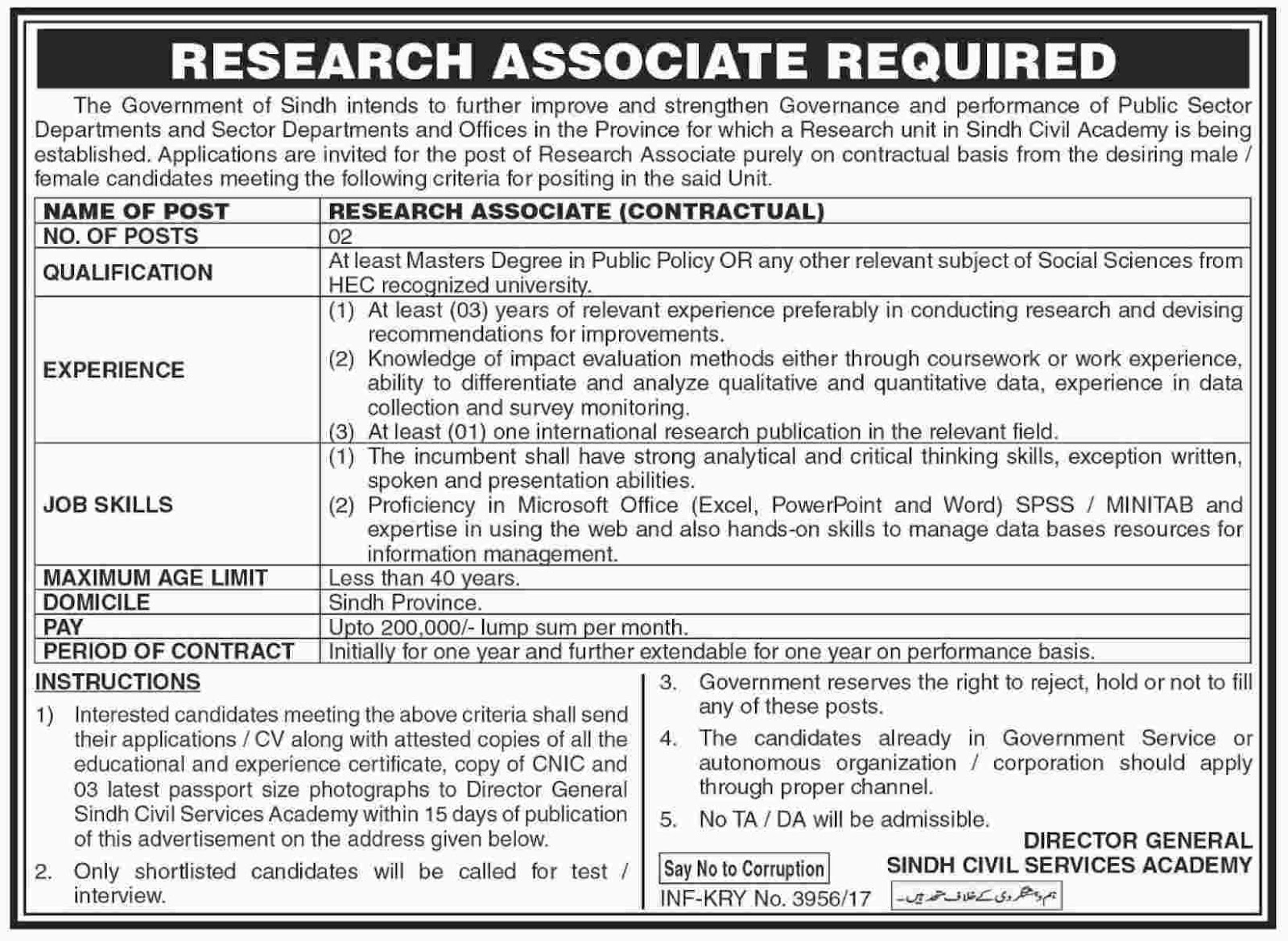 Research Associate Jobs In Public Sector Organization Karachi