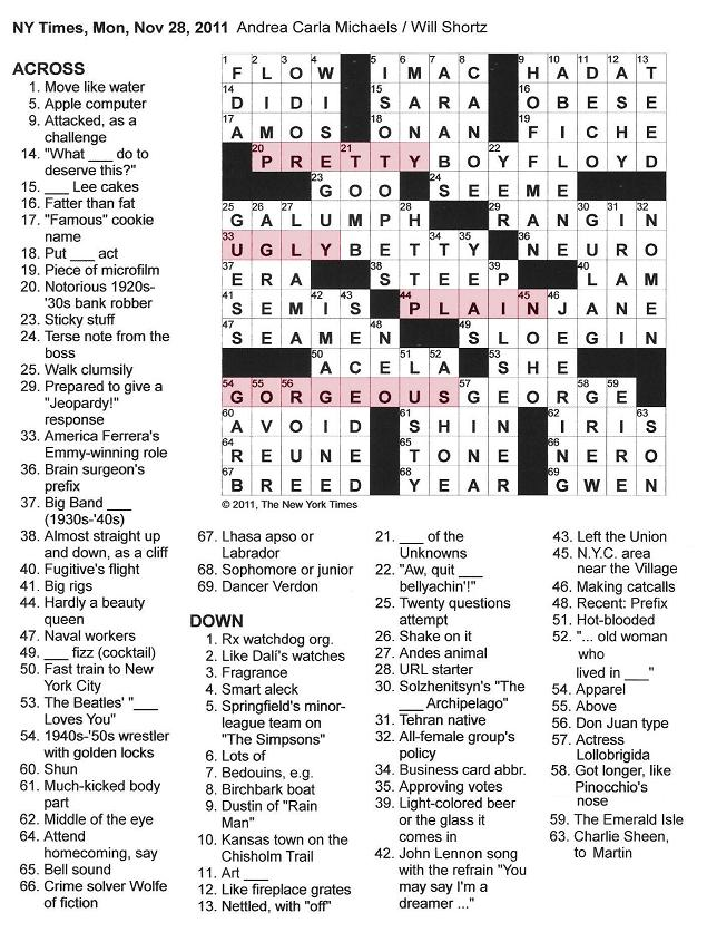 The New York Times Crossword in Gothic: November 2011