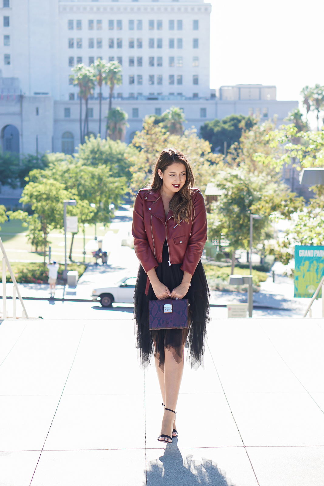 Fashion, Fall Fashion, Zara best pieces for fall, Zara Red Leather Effect Jacket, Zara Burgundy Moto Jacket, Perfect Moto Jacket for Fall, Nasty Gal Just Like Heaven Tutu Skirt, Black Zara Tutu Skirt, Zara Minaudière Briefcase Bag, Boxy Top Handel Faux Snakeskin Bag, Fall Princess, Los Angeles City Hall, Downtown Los Angeles