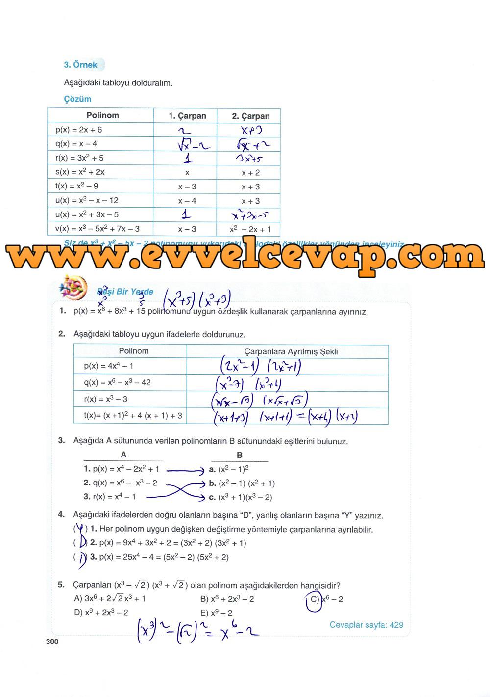 10. Sınıf Matematik Tuna Yayınları Ders Kitabı 300. Sayfa Çözümleri