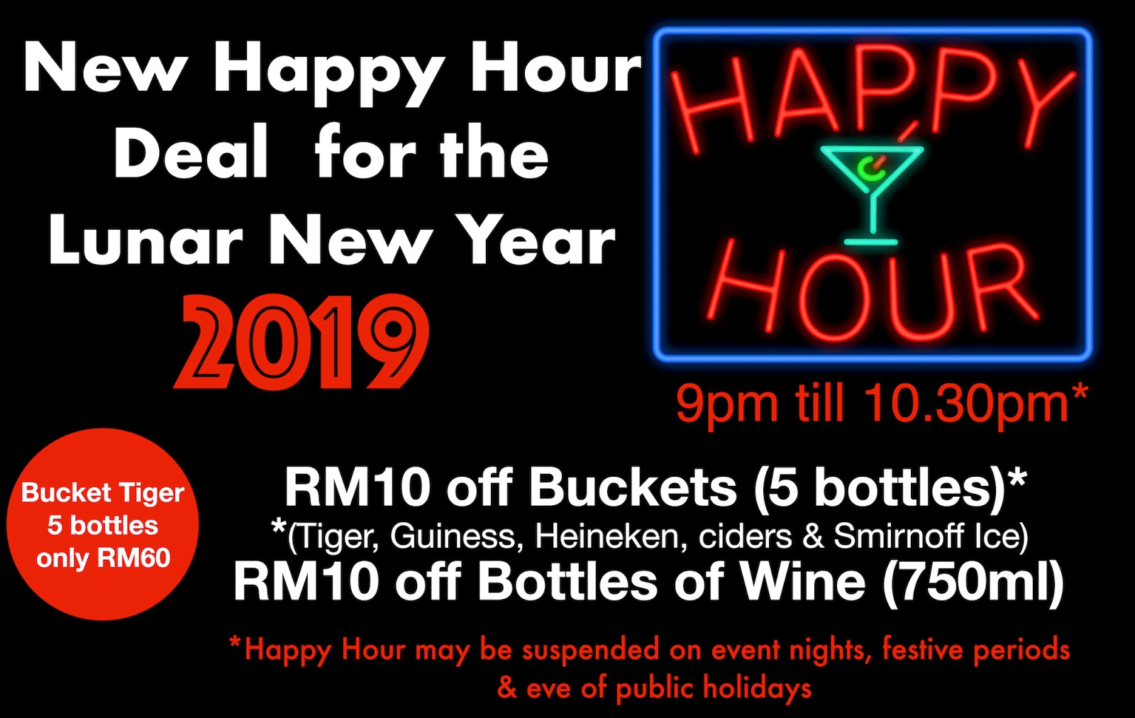New Lunar Year - New Happy Hour Deal