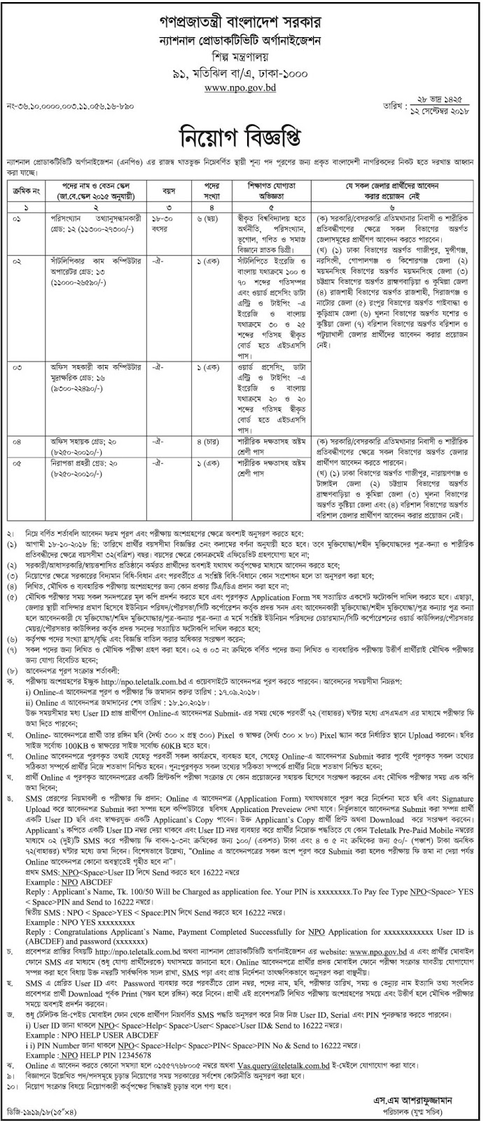 National Productivity Organization (NPO) Job Circular 2018