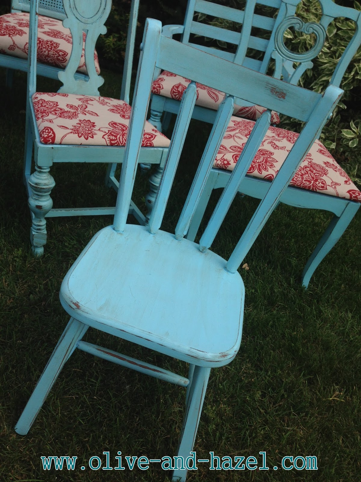Olive Hazel Decor Co Custom Teal Mismatched Dining Chairs
