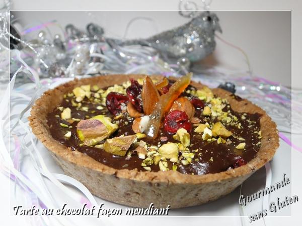 Tarte au chocolat façon mendiant, sans gluten