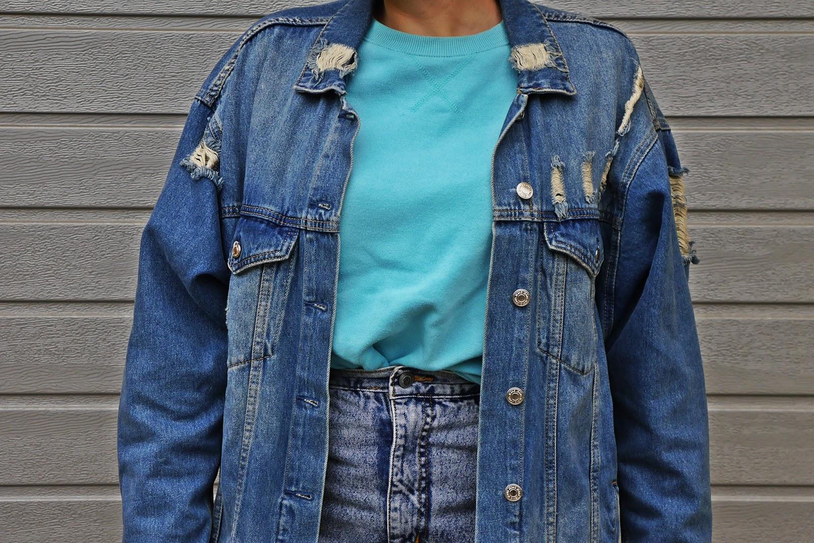 Kozaki renee jeansowa kurtka answear miętowa bluza spódnica karyn blog modowy