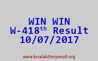 WIN WIN Lottery W 418 Results 10-7-2017