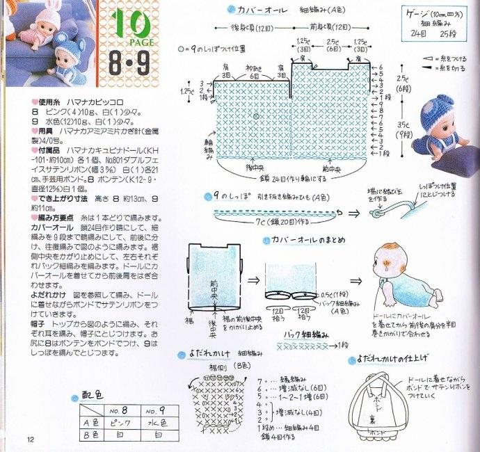 Вязаная одежда для маленьких кукол. Схемы (9)