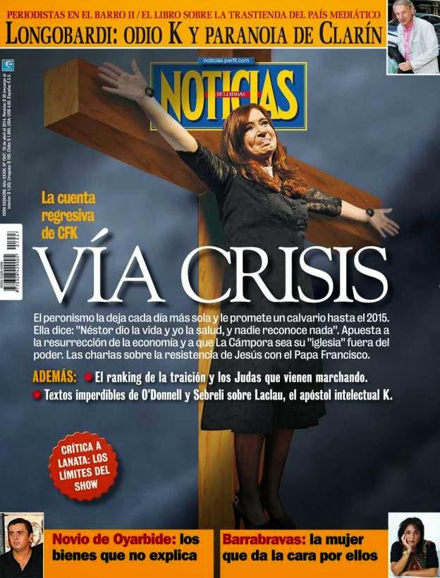 cristina fernandez mujer crucificada revista noticias via crisis