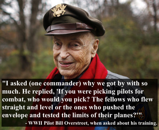 WWII veteran, pilot Bill Overstreet, in his 90s, wearing his flight jacket and patches and his military cap. Overstreet, in an Interview, explaining that his commander protected daring pilots who pushed the limits of flying.  Overstreet and Mad Jack and other stories of pilots. marchmatron.com