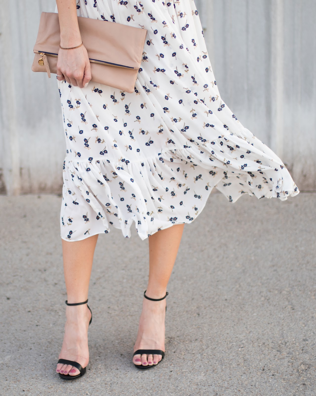 Floral dress + strappy heeled sandals