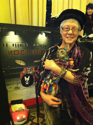 Coco the Cornish Rex cat in NYC Pet Fashion Show