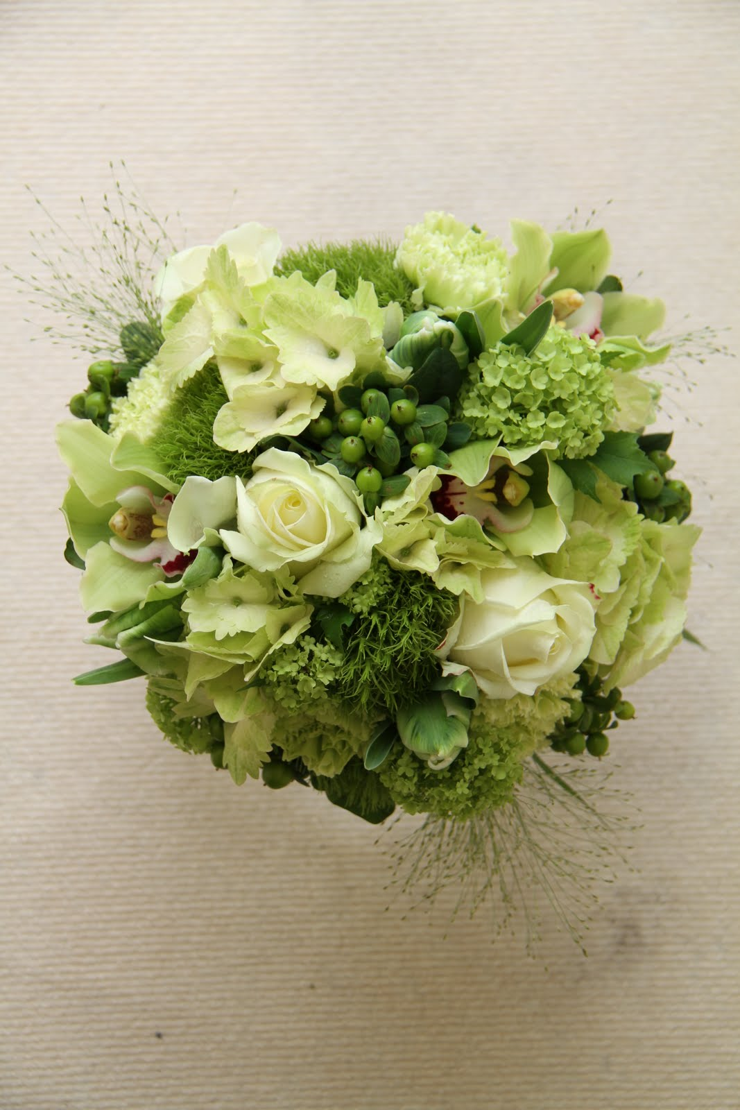 Green & Ivory Wedding Flowers; A Wrist Corsage, Cake ...