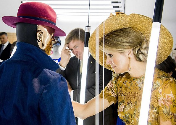 Queen Maxima visited the Triennale Design and Art Museum in Milan. Queen Maxima wore Zimmermann Tropicale Crinkle Dress