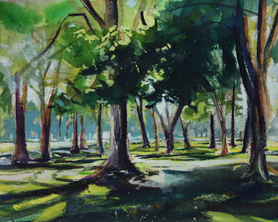 Watercolor painting of the Krull Park on the shores of Lake Ontario