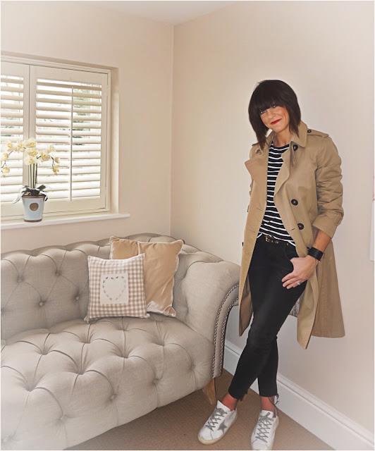My Midlife Fashion, H and M monochrome breton t shirt, massimo dutti trench mac, zara distressed jeans, studded leather belt, mango rigid cuff bracelet, golden goose trainers