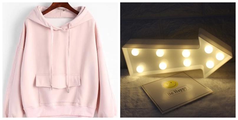 pink hoodie e seta com luz da rosegal