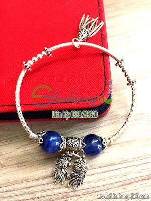 Vòng tay đá quý sapphire kyanite bạc Thái 925