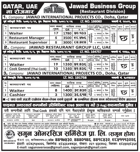 Jobs in UAE and Qatar for Nepali, Salary Rs 98,576