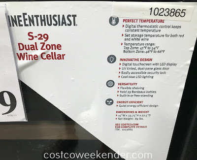 Costco 1023865 - Wine Enthusiast S-29 Dual-Zone Wine Cellar: great for any wine connoisseur