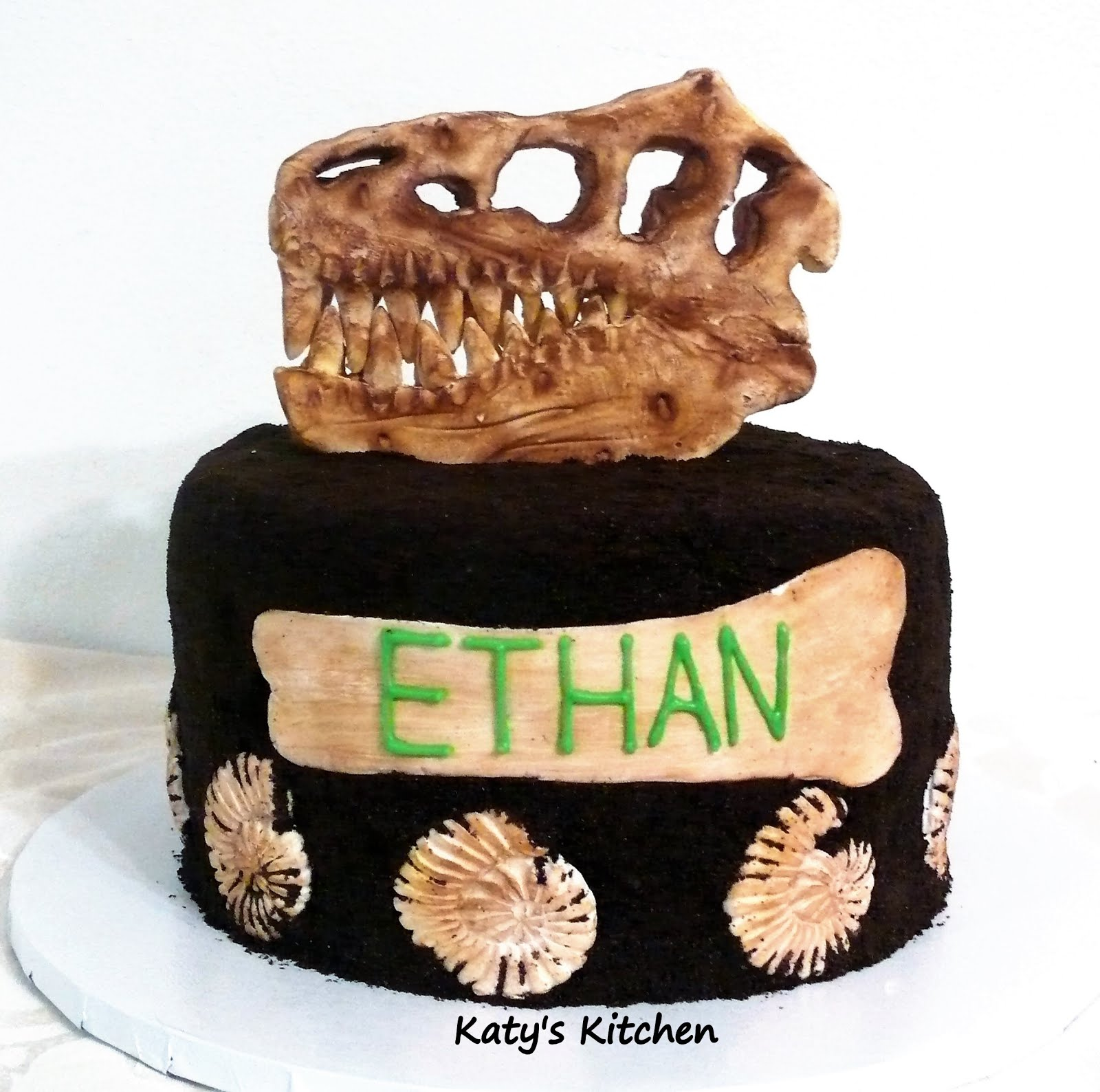 Wondrous Katys Kitchen T Rex Dinosaur Fossil Birthday Cake With Ammonites Personalised Birthday Cards Paralily Jamesorg