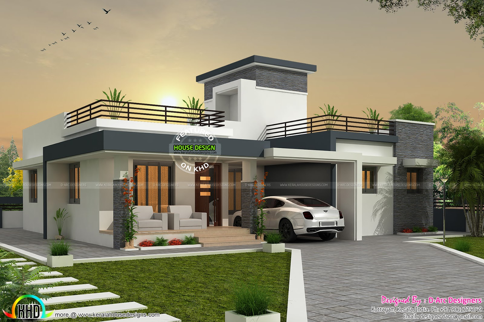 3 BHK contemporary, box type home - Kerala home design and ...