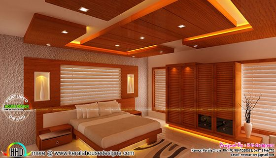 Master bedroom with wooden finish