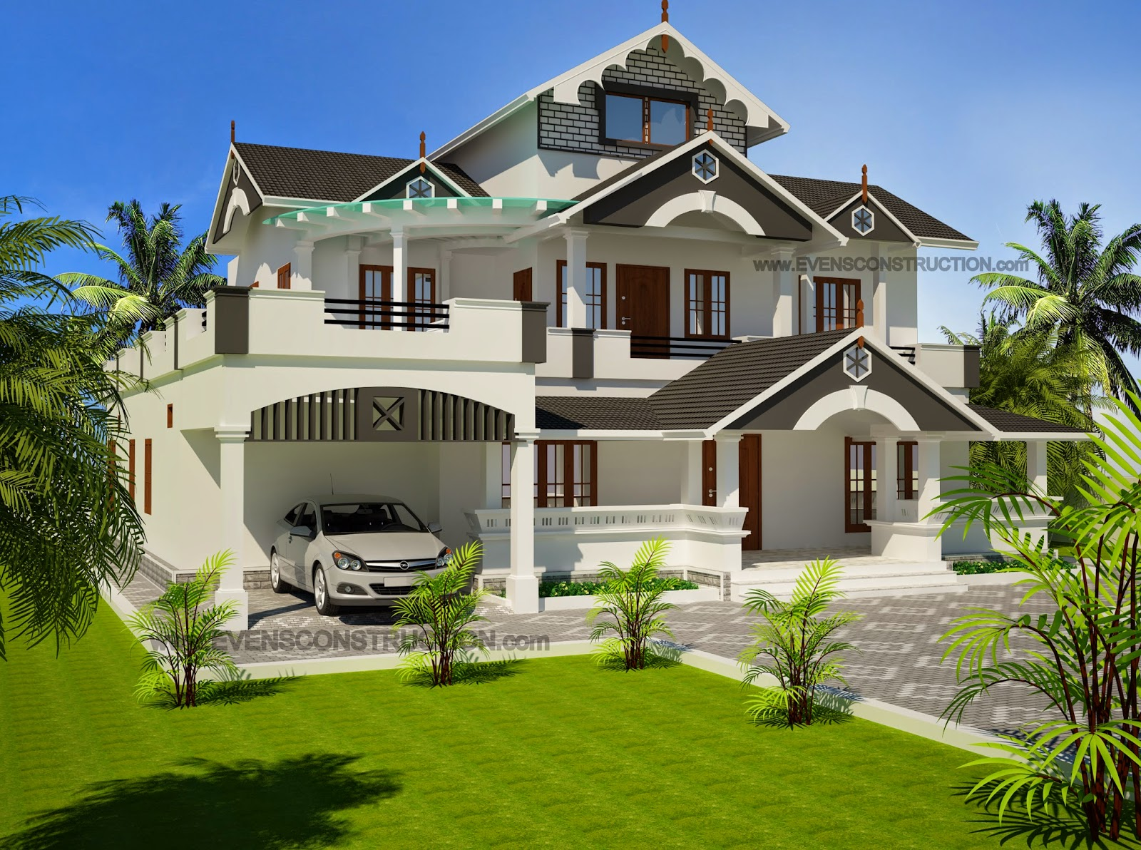 Evens Construction Pvt Ltd Modern Sloping Roof House