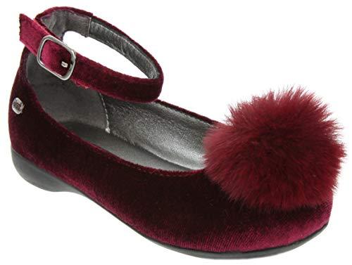 f3a14408e Naturino Express Kids Poeta Girls Slip On Ballet Flat with Ankle Strap and  Big Pom-Pom Dress Shoe Loafer Burgundy 2 Little Kids 2019