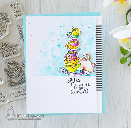 Cat Card with Dishes by Tatiana Trafivomich| Newton Cleans Up Stamp Set by Newton's Nook Designs #newtonsnook #handmade