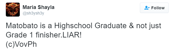 Matobato finished high school, not grade 1 — source