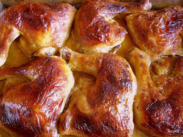 udka w maslance, kurczak pieczony, uda pieczone, cwiartki z kurczaka, mieso, drob, maslanka