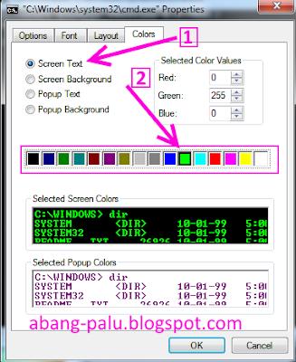 cara merubah warna teks di command prompt