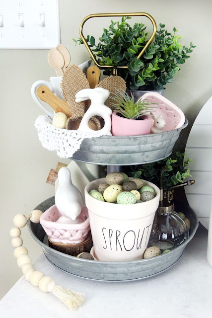 Easter decorating ideas for a tiered tray.