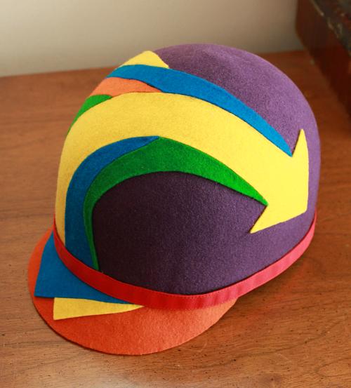 Mod 1960s felt helmet hat