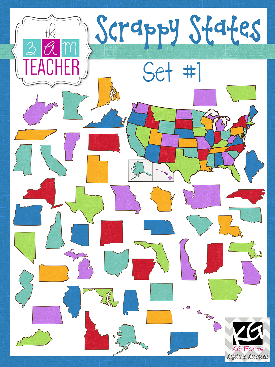 The 3am teacher new us states clipart a discount code a freebie off code and a couple of freebies to promote my new states clip art sets i have unlabeled states and labeled states in various styles for your to fandeluxe Image collections