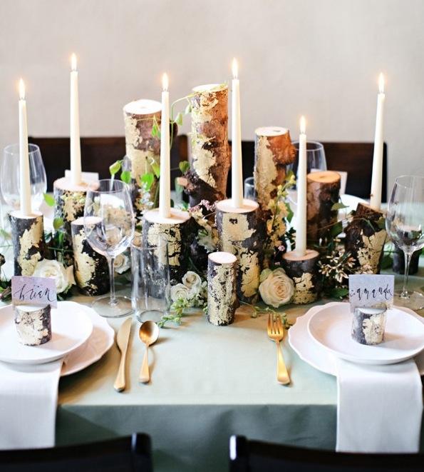 Como hacer unos candelabros de troncos en 5 pasos - Decoracion mesas fiestas ...