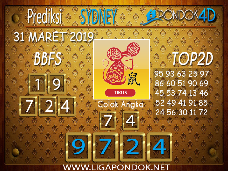 Prediksi Togel SYDNEY PONDOK4D 31 MARET 2019