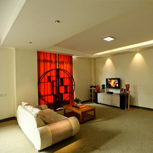 Living Room Built In Wall Units Red And Brown Curtains Exclusive Led Ceiling Lights Light Fixture For Modern ...