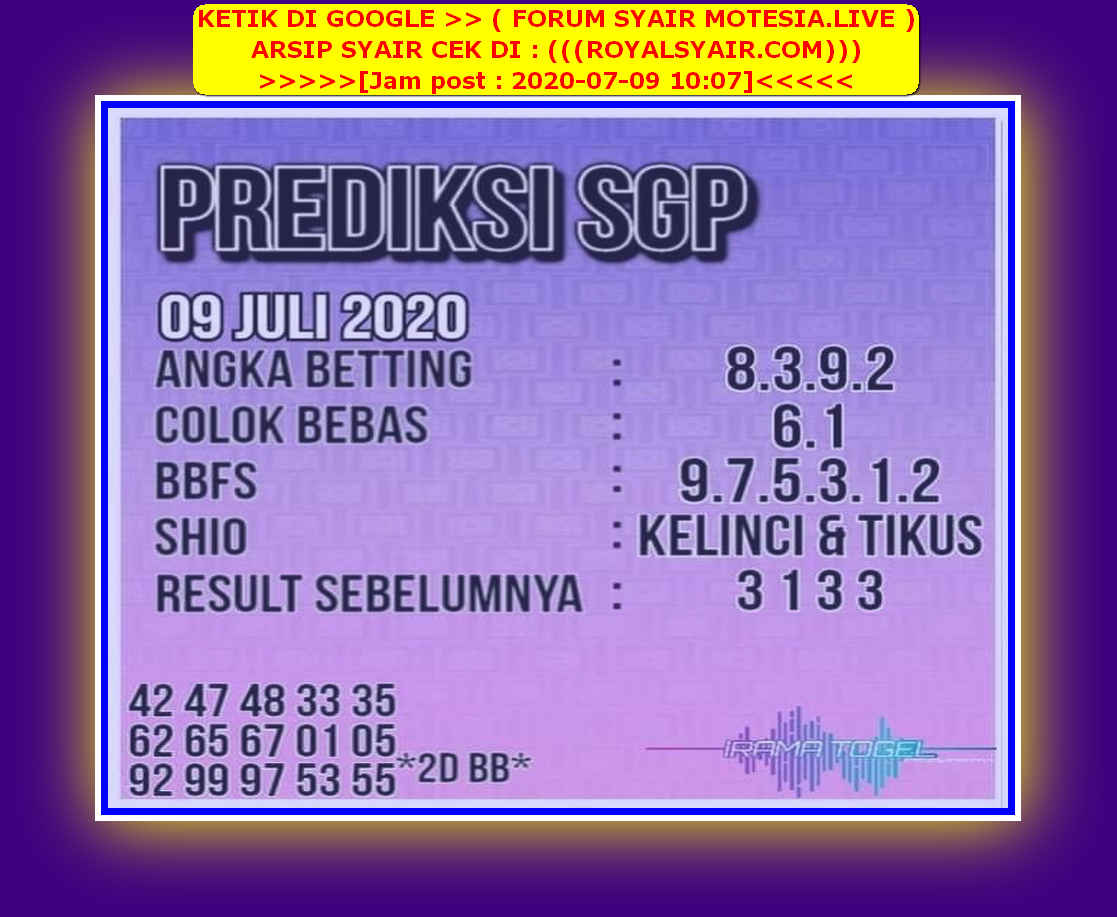 Kode syair Singapore Kamis 9 Juli 2020 103