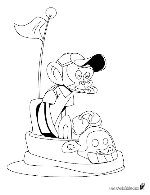 Monkey Driving Car Coloring Page  Coloring Page  Animal Coloring Pages   Wild Animal