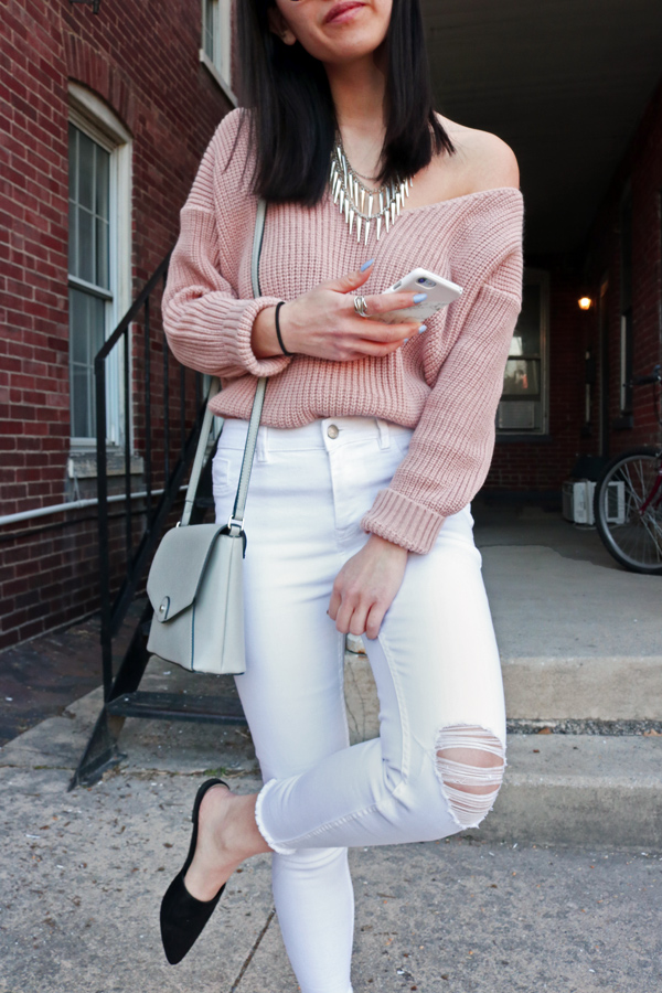 White Jeans, Pin Sweater, Black Mules for Spring Trends