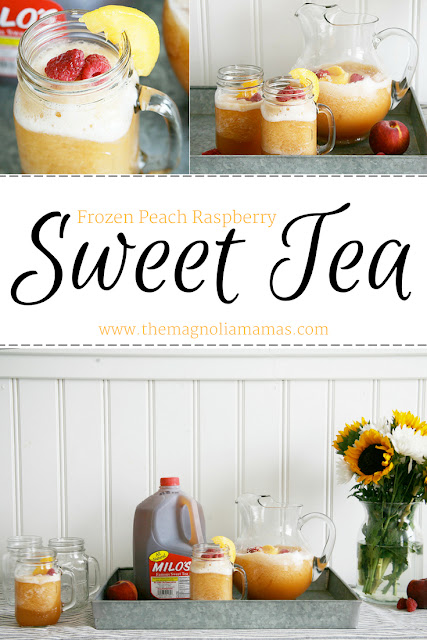 Frozen Peach Raspberry Sweet Tea Recipe. The yummiest sweet tea drink for the summer made with Milo's Tea! #MakeitwithMilos #Pmedia #ad